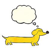 cartoon dachshund with thought bubble