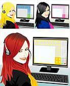 young beautiful girl telephone operator three color