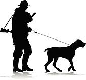 Hunter and dog silhouette