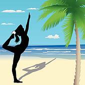 Yoga poses on the beach