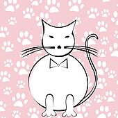 Funny cartoon cat over paws background
