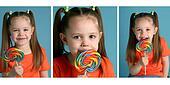 Cute Preschool girl eating a lollipop
