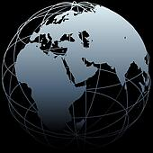 Globe Eastern Earth world longitude map on black