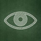 Security concept: Eye on chalkboard background
