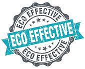 Eco effective blue grunge retro style isolated seal