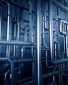 blue metal steel pipe background