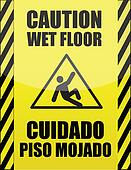 English and Spanish wet floor sign