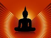 Buddha with red rays background