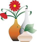 Blossoming flowers in vases
