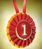 Red ribbon award with gold laurels