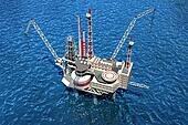 Offshore oilrig in the ocean. 3D