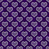 Purple and White Polka Dot Hearts Pattern Repeat Background
