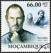 MOZAMBIQUE - 2011: shows portrait of Steve Jobs (1955-2011)