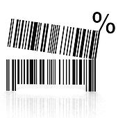 bar code as an open mouth with teeth