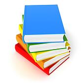 Five colored books on white