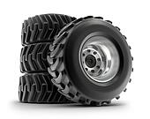 Tractor heavy wheels set, isolated