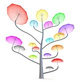 Umbrella tree . 3D colorful concept