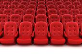 Red theater seats. 3D render.