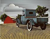 Vintage Truck Scene Color