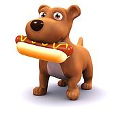 3d Dog with hot dog