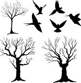 silhouette vector, tree and birds 3