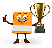 Book Character with trophy