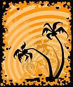 summer banner with tropical palms