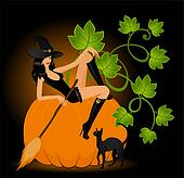 beautiful sexual witch and pumpkin