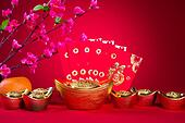 chinese new year decorations,generic chinese character symbolizes gong xi fa cai without copyright infringement
