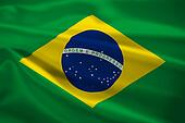 Brazil flag blowing in the wind