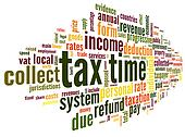 Tax time concept in word tag cloud