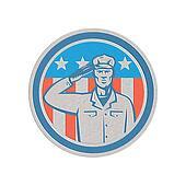 American Soldier Salute Flag Circle Retro