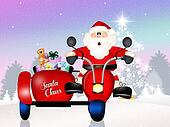 Santa Claus on sidecar
