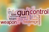 Gun control word cloud with abstract background