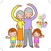Grandparents and Grandchildren Mascot love gesture. Home and Fam