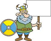 Viking holding a sign