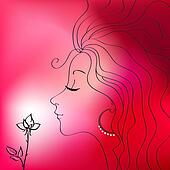 Beautiful woman silhouette with flower