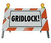 Gridlock Road Barrier Barricade Warning Traffic Sign