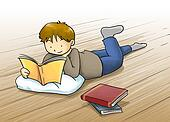 Kid reading a book cartoon illustration.Kid, a boy reading a book lying on the floor. cartoon illustration with beautiful color
