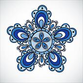 Blue flower pattern. Hand drawn style