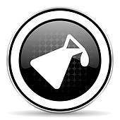 chemistry icon, black chrome button