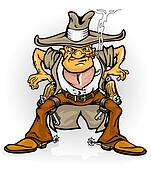 western cowboy bandit with gun