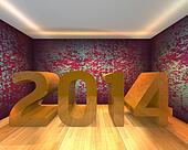 Happy New Year - 2014 in Empty room