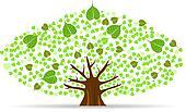 Set of Bodhi (Sacred Fig) tree Vector Illustration.