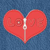 Jeans and hearts with zipper