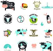 Milk Labels, elements and icons