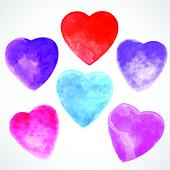 Watercolor beautiful hearts illustration
