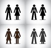 well dressed man woman or boy girl standing concept symbols set. different black colorful simple male and female standing icons (simple, professional, party and holiday) collection set
