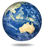 Planet earth on white - Australian view