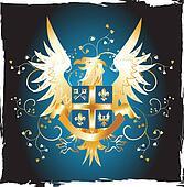 Grunge shield with golden eagle and fleur-de-lis